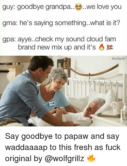 Goodbyee: guy: goodbye grandpa.. ,,we love you  gma: he's saying something..what is it?  gpa: ayye..check my sound cloud fam  brand new mix up and it's。  @wolfgrillz Say goodbye to papaw and say waddaaaap to this fresh as fuck original by @wolfgrillz 🔥