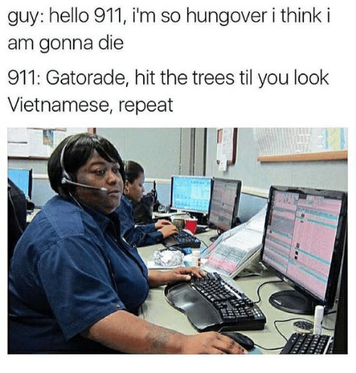 Repeatingly: guy: hello 911, im so hungover i think i  am gonna die  911: Gatorade, hit the trees til you look  Vietnamese, repeat