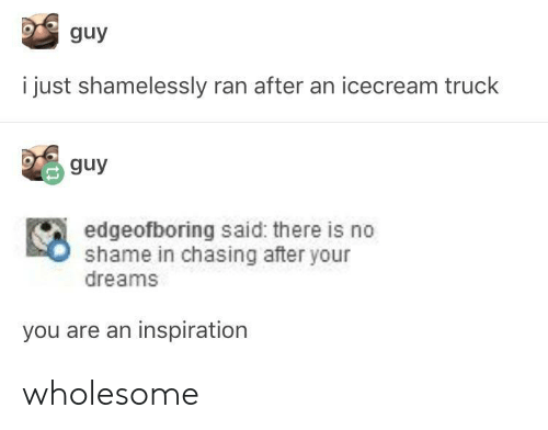 Wholesome, Dreams, and Inspiration: guy  i just shamelessly ran after an icecream truck  guy  edgeofboring said: there is no  shame in chasing after your  dreams  you are an inspiration wholesome
