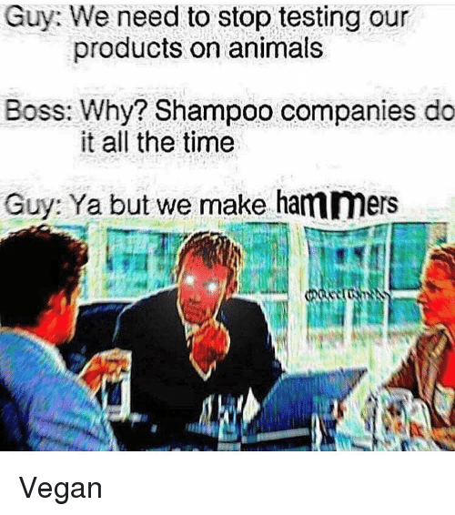 Animals, Memes, and Vegan: Guy: We need to stop testing our  Boss: Why? Shampoo companies do  Guy: Ya but we make hammers  products on animals  it all the time Vegan
