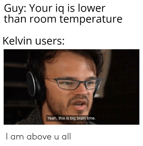 Yeah, Brain, and Time: Guy: Your iq is lower  than room temperature  Kelvin users:  Yeah, this is big brain time. I am above u all