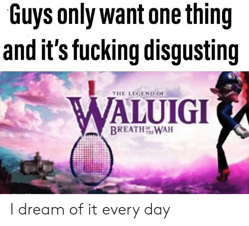 waluigi: Guys only want one thing  and it's fucking disgusting  THE LEGEND OF  WALUIGI  BREATHWAH I dream of it every day