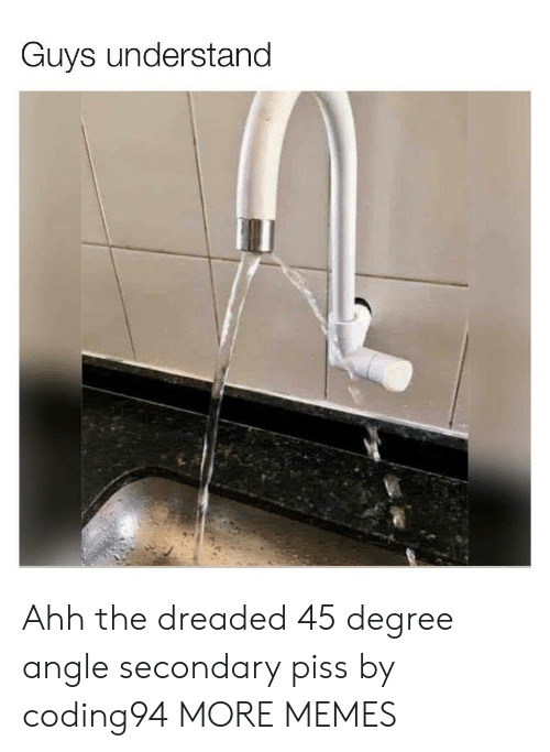 Dank, Memes, and Target: Guys understand Ahh the dreaded 45 degree angle secondary piss by coding94 MORE MEMES