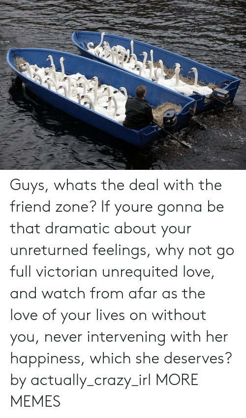 friend zone: Guys, whats the deal with the friend zone? If youre gonna be that dramatic about your unreturned feelings, why not go full victorian unrequited love, and watch from afar as the love of your lives on without you, never intervening with her happiness, which she deserves? by actually_crazy_irl MORE MEMES