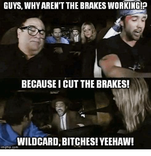 Memes, 🤖, and Working: GUYS, WHY AREN'T THE BRAKES WORKING!p  BECAUSE I CUT THE BRAKES!  WILDCARD, BITCHES! YEEHAW!  img flip com