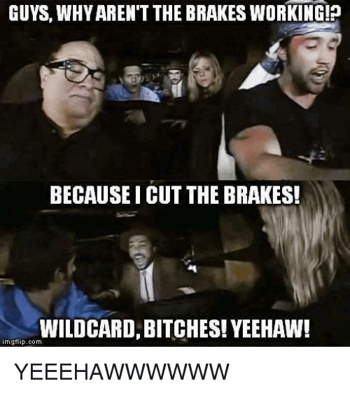 Memes, 🤖, and Working: GUYS, WHY AREN'T THE BRAKES WORKING!p  BECAUSE I CUT THE BRAKES!  WILDCARD, BITCHES! YEEHAW!  mgflip.com YEEEHAWWWWWW