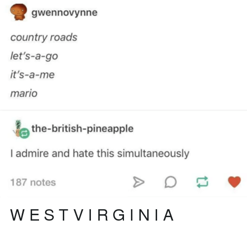 Mario, Pineapple, and British: gwennovynne  country roads  let's-a-go  it's-a-me  mario  the-british-pineapple  I admire and hate this simultaneously  187 notes W E S T V I R G I N I A