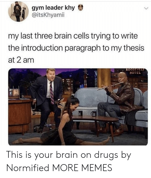 Dank, Drugs, and Gym: gym leader khy  @itsKhyamii  my last three brain cells trying to write  the introduction paragraph to my thesis  at 2 am  HOTEL This is your brain on drugs by Normified MORE MEMES