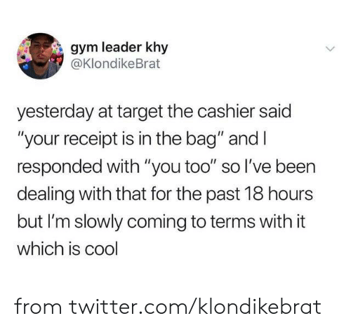 """Dank, Gym, and Target: gym leader khy  @KlondikeBrat  yesterday at target the cashier said  """"your receipt is in the bag"""" and I  responded with """"you too"""" so l've been  dealing with that for the past 18 hours  but I'm slowly coming to terms with it  which is cool from twitter.com/klondikebrat"""