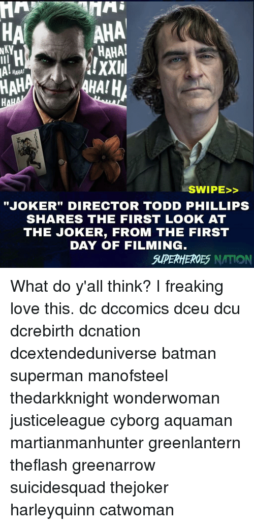 """phillips: HA  AHA  HAHA!  !XXIII  HAHA!  HAH  SWIPE>>  JOKER"""" DIRECTOR TODD PHILLIPS  SHARES THE FIRST LOOK AT  THE JOKER, FROM THE FIRST  DAY OF FILMING  SUPERHHEROES NATION What do y'all think? I freaking love this. dc dccomics dceu dcu dcrebirth dcnation dcextendeduniverse batman superman manofsteel thedarkknight wonderwoman justiceleague cyborg aquaman martianmanhunter greenlantern theflash greenarrow suicidesquad thejoker harleyquinn catwoman"""