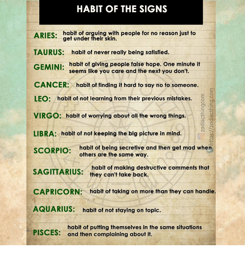 HABIT OF THE SIGNS ARIES Habit of Arguing With People for No