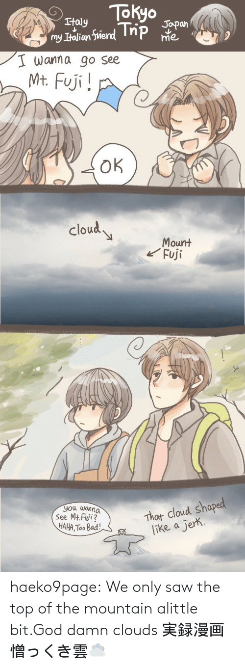 the mountain: haeko9page:  We only saw the top of the mountain alittle bit.God damn clouds 実録漫画憎っくき雲☁️