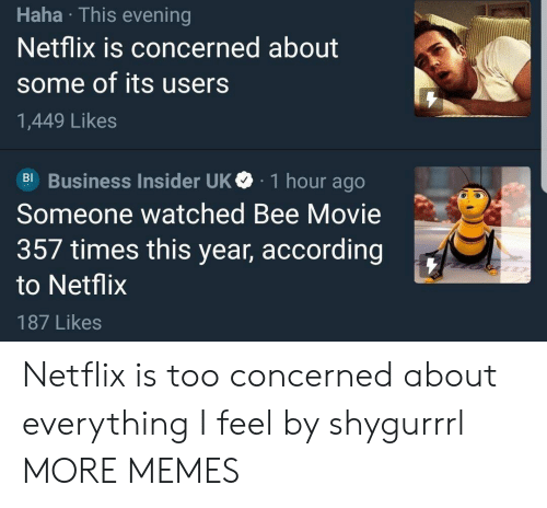 Bee Movie, Dank, and Memes: Haha This evening  Netflix is concerned about  some of its users  1,449 Likes  Bl Business Insider UKe 1 hour ago  Someone watched Bee Movie  357 times this year, according  to Netflix  187 Likes Netflix is too concerned about everything I feel by shygurrrl MORE MEMES
