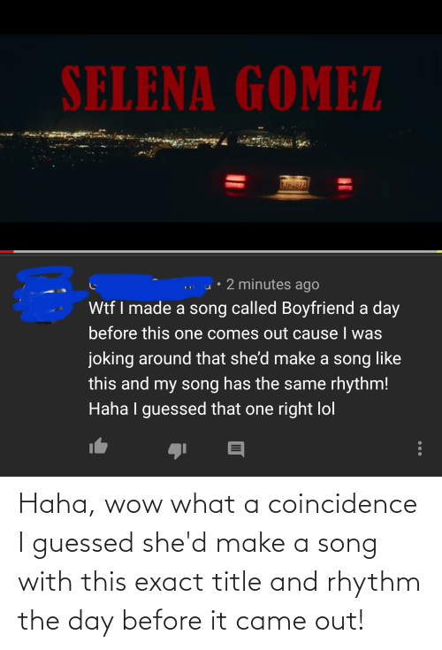 shed: Haha, wow what a coincidence I guessed she'd make a song with this exact title and rhythm the day before it came out!