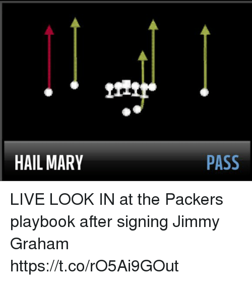 Football, Hail Mary, and Nfl: HAIL MARY  PASS LIVE LOOK IN at the Packers playbook after signing Jimmy Graham https://t.co/rO5Ai9GOut