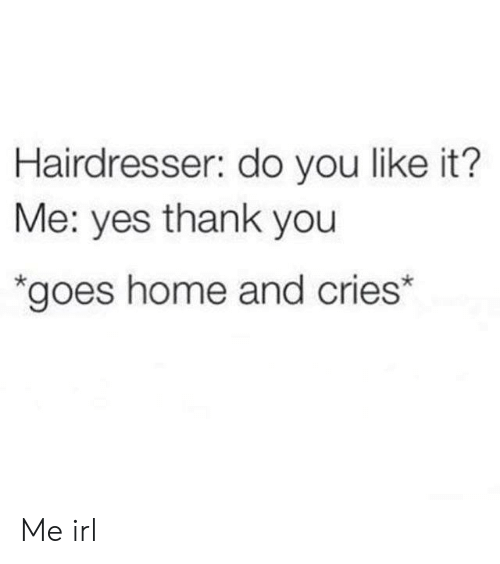 You Like It: Hairdresser: do you like it?  Me: yes thank you  *goes home and cries* Me irl
