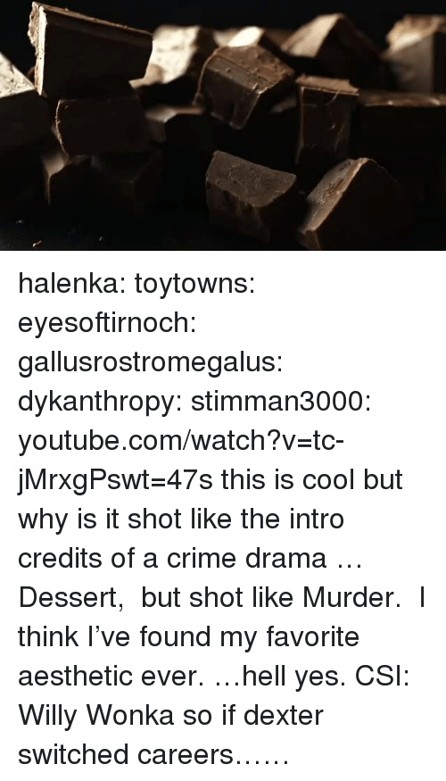 Dexter: halenka:  toytowns:  eyesoftirnoch:  gallusrostromegalus:  dykanthropy:  stimman3000: youtube.com/watch?v=tc-jMrxgPswt=47s this is cool but why is it shot like the intro credits of a crime drama  …Dessert,  but shot like Murder.  I think I've found my favorite aesthetic ever.  …hell yes.  CSI: Willy Wonka   so if dexter switched careers……