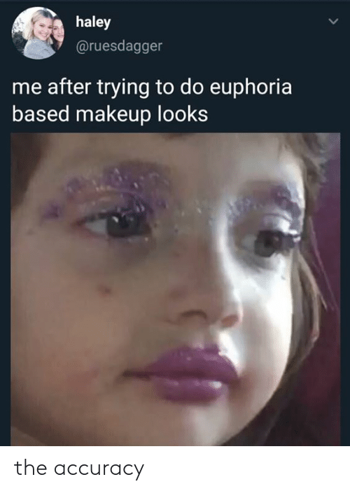 Trying To Do: haley  @ruesdagger  me after trying to do euphoria  based makeup looks the accuracy