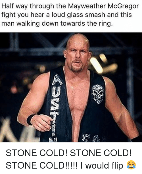 stoning: Half way through the Mayweather McGregor  fight you hear a loud glass smash and this  man walking down towards the ring.  趴 STONE COLD! STONE COLD! STONE COLD!!!!! I would flip 😂