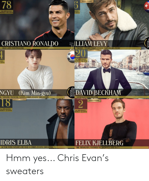 levy: HALLOF FAME  78  RANCE  h (2017)  5th APPEARANCE  HIGHEST: 29th (2016)  JU  UYEN  1  M¢  (LLIAM LEVY  CRISTIANO RONALDO  JUVENTUS  HAN  FA  20  OLD LADY FOOTBALLER  R/ MODEL/FINDS CHRIS EVANS' SWEATERS ITCHY  TIALL TAME  adidas  20  4  7th APPEARANCE  HIGHEST: 13th (2018)  ANCE  h (2019)  THE  100  MOS  FACE  2019  VENETIAN TAXI DRIVER  NGYU (Kim Min-gyu)  DAVID BECKHAM  HANDSOM  R/ SINGER / DANCER / LOVES CHRIS EVANS' SWEATERS  18  HALL*FAME  7th APPEARANCE  IGHEST: 3rd (2018)  5th APPEARANCE  HIGHEST: 2nd (2019)  EVIEW  IDRIS ELBA  FELIX KJELLBERG  ACTOR WHO WISHES HE HAD A CHRIS EVANS SWEATER  MR. BISOGNIN / FATHER TO JOERGEN AND SVEN  111111 Hmm yes... Chris Evan's sweaters