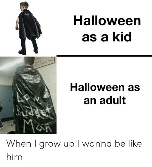 Arts: Halloween  as a kid  C 244-C 2  Elevator  Performing Arts Center  Halloween as  an adult  MaR When I grow up I wanna be like him