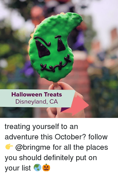 Definitely, Disneyland, and Halloween: Halloween Treats  Disneyland, CA treating yourself to an adventure this October? follow 👉 @bringme for all the places you should definitely put on your list 🌏🎃