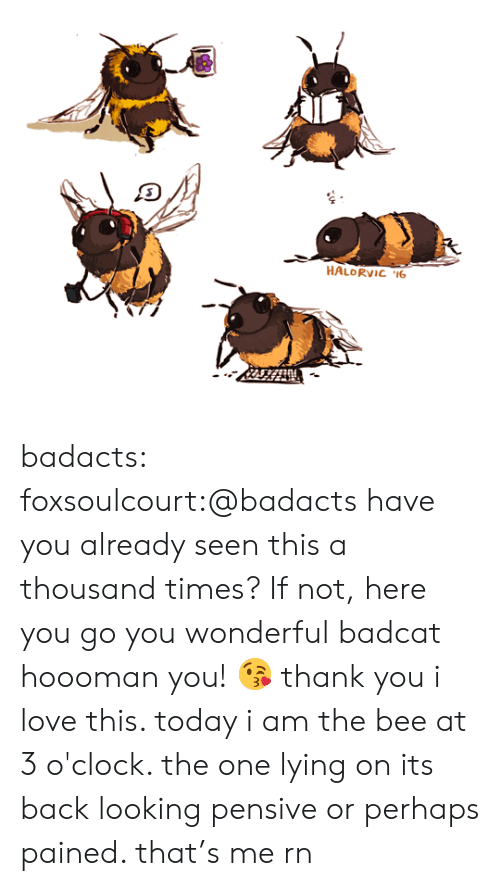 Love, Target, and Tumblr: HALORVIC 6 badacts:  foxsoulcourt:@badacts have you already seen this a thousand times? If not, here you go you wonderful badcat hoooman you! 😘 thank you i love this. today i am the bee at 3 o'clock. the one lying on its back looking pensive or perhaps pained. that's me rn