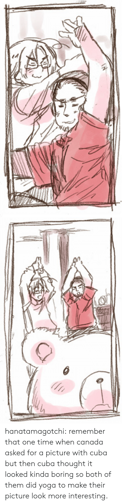 Target, Tumblr, and Blog: hanatamagotchi:  remember that one time when canada asked for a picture with cuba but then cuba thought it looked kinda boring so both of them did yoga to make their picture look more interesting.