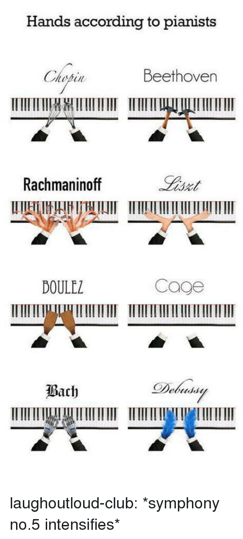 Club, Tumblr, and Beethoven: Hands according to pianists  in Beethoven  Rachmaninoff  DOULEZ  Cage laughoutloud-club:  *symphony no.5 intensifies*