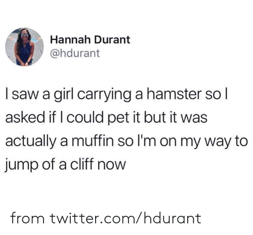 Dank, Twitter, and Girl: Hannah Durant  @hdurant  Isaw a girl carrying a hamster sol  asked if I could pet it but it was  actually a muffin so I'm on my way to  jump of a cliff now from twitter.com/hdurant