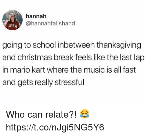 Christmas, Mario Kart, and Music: hannah  @hannahfallshand  NDIANA  going to school inbetween thanksgiving  and christmas break feels like the last lap  in mario kart where the music is all fast  and gets really stressful Who can relate?! 😂 https://t.co/nJgi5NG5Y6