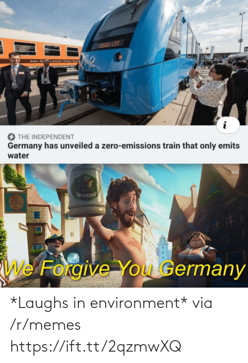 Memes, Zero, and Germany: Hanno Ops  Berlin-Wo  KAGE  THE INDEPENDENT  Germany has unveiled a zero-emissions train that only emits  water  FTFF  CA  We Forgive You Germany *Laughs in environment* via /r/memes https://ift.tt/2qzmwXQ
