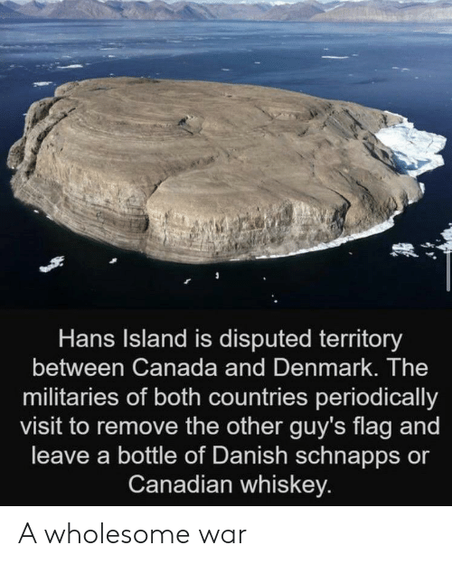 Canadian: Hans Island is disputed territory  between Canada and Denmark. The  militaries of both countries periodically  visit to remove the other guy's flag and  leave a bottle of Danish schnapps or  Canadian whiskey. A wholesome war