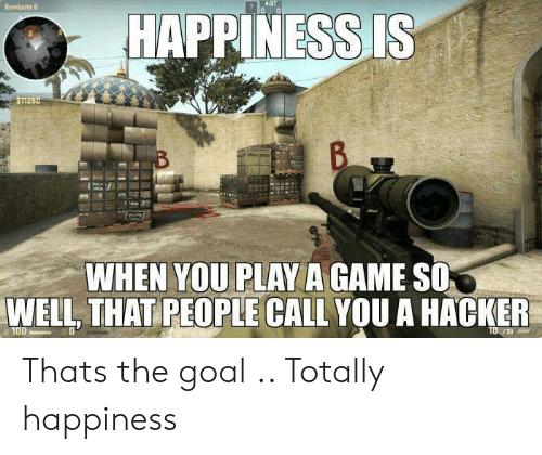 Play A Game: HAPPINESS IS  $11250  WHEN YOU PLAY A GAME SO  WELL, THAT PEOPLE CALL YOU A HACKER  30 Thats the goal .. Totally happiness