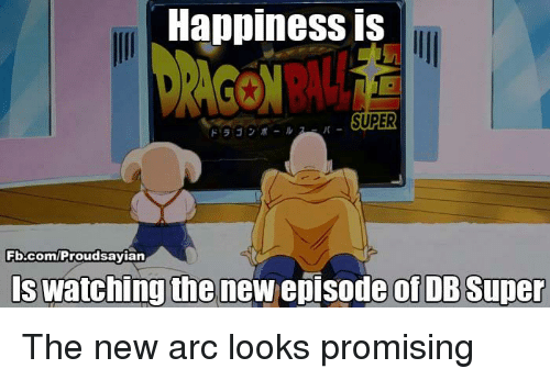 Memes, 🤖, and Arc: Happiness is  SUPER  Fb.com/Proudsayian  Is watching the new episode of DB Super The new arc looks promising