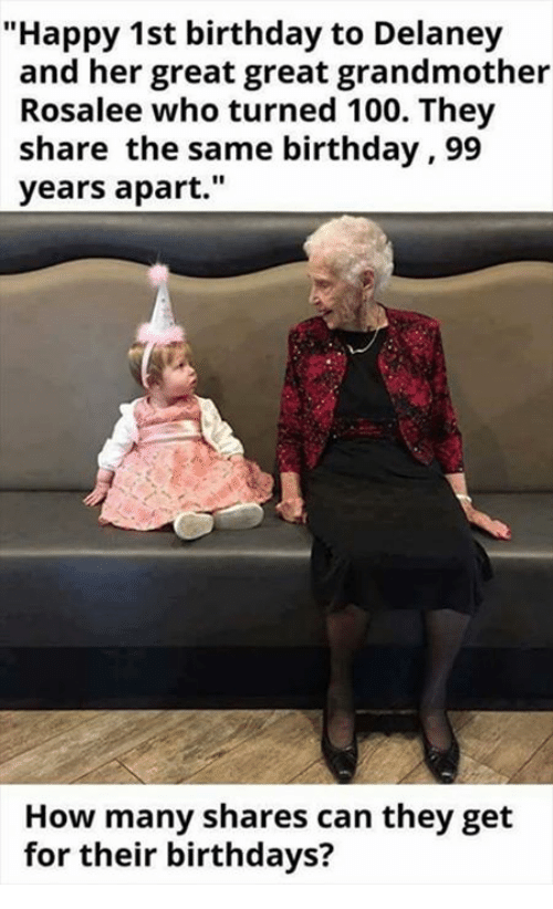 """Same Birthday: """"Happy 1st birthday to Delaney  and her great great grandmother  Rosalee who turned 100. They  share the same birthday ,99  years apart.""""  How many shares can they get  for their birthdays?"""