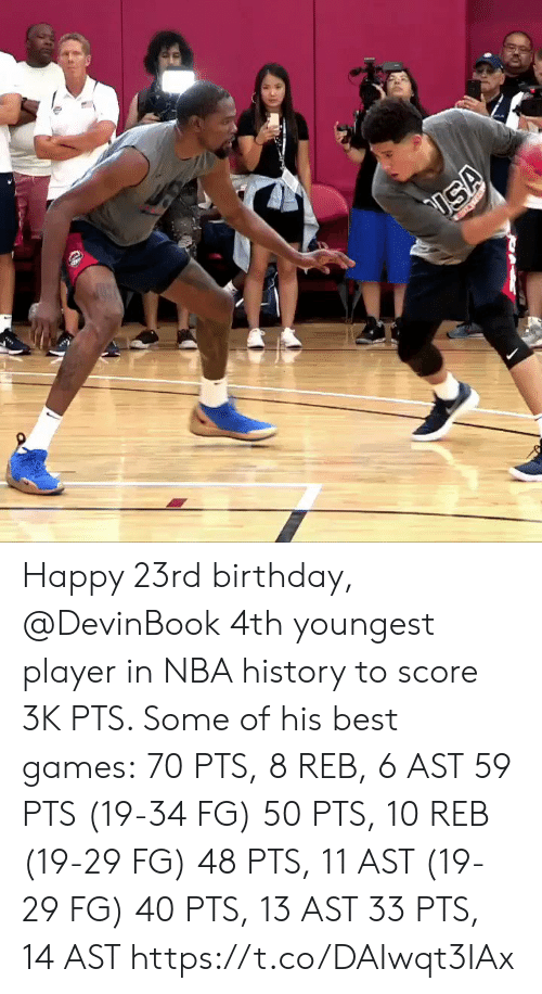 Birthday, Memes, and Nba: Happy 23rd birthday, @DevinBook 4th youngest player in NBA history to score 3K PTS.   Some of his best games: 70 PTS, 8 REB, 6 AST 59 PTS (19-34 FG) 50 PTS, 10 REB (19-29 FG) 48 PTS, 11 AST (19-29 FG) 40 PTS, 13 AST 33 PTS, 14 AST   https://t.co/DAIwqt3IAx