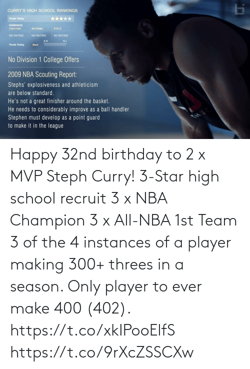 NBA: Happy 32nd birthday to 2 x MVP Steph Curry!   3-Star high school recruit 3 x NBA Champion 3 x All-NBA 1st Team 3 of the 4 instances of a player making 300+ threes in a season. Only player to ever make 400 (402).   https://t.co/xkIPooElfS https://t.co/9rXcZSSCXw