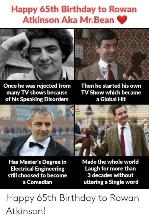show: Happy 65th Birthday to Rowan  Atkinson Aka Mr.Bean  Once he was rejected from  many TV shows because  of his Speaking Disorders  Then he started his own  TV Show which became  a Global Hit  What  Has Master's Degree in  Electrical Engineering  still choosed to become  Made the whole world  Laugh for more than  3 decades without  uttering a Single word  a Comedian  XXAMI Happy 65th Birthday to Rowan Atkinson!