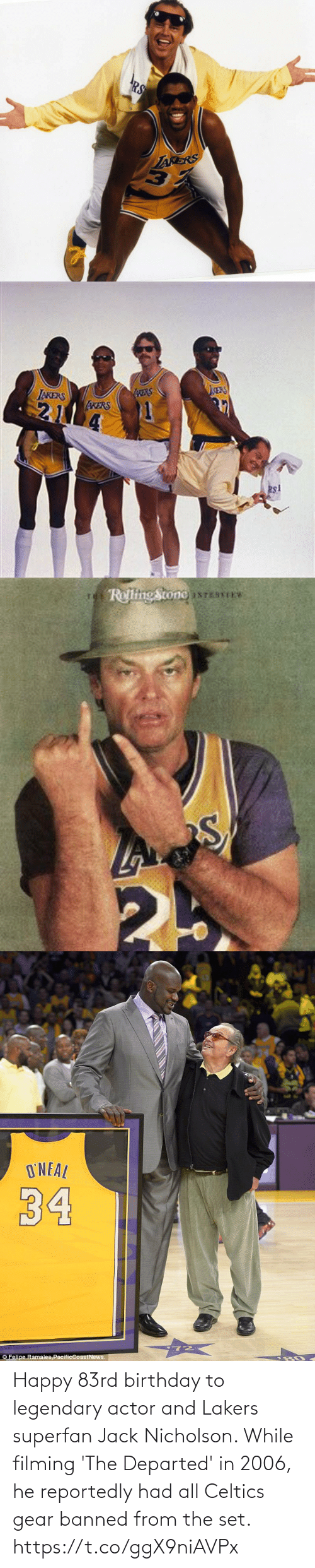 Jack Nicholson: Happy 83rd birthday to legendary actor and Lakers superfan Jack Nicholson.   While filming 'The Departed' in 2006, he reportedly had all Celtics gear banned from the set. https://t.co/ggX9niAVPx