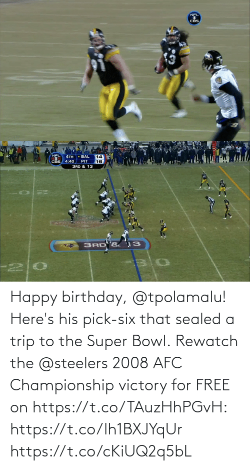 afc: Happy birthday, @tpolamalu! Here's his pick-six that sealed a trip to the Super Bowl.  Rewatch the @steelers 2008 AFC Championship victory for FREE on https://t.co/TAuzHhPGvH: https://t.co/lh1BXJYqUr https://t.co/cKiUQ2q5bL