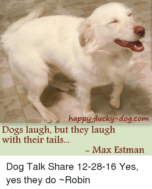 Dog Laughing: happy lucky-dog.com  Dogs laugh, but they laugh  with their tails...  Max Estman Dog Talk Share 12-28-16 Yes, yes they do ~Robin