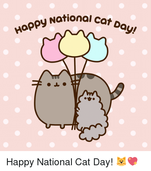 Happy National Cat Day: Happy Nation  National Cat Da  QI  ay! Happy National Cat Day! 🐱💖