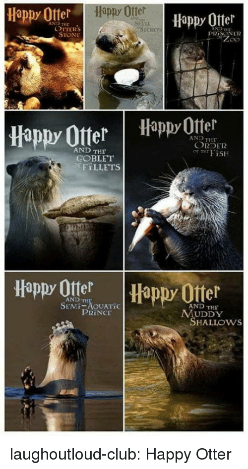 Club, Otters, and Prince: Happy Otter  Happy Ofter  AND HE  SHELL  OTTERS  STONE  PRİSON LTR  Happy OtterHappyOttel  AND THE  ORDER  AND THE  GOBLET  EFT LLETS  Happy Otter  Happy Ofter  AND TH  AND THE  PRINCE  MUDDY  SHALLOws laughoutloud-club:  Happy Otter