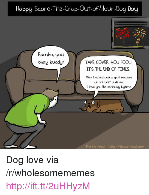 "Love, Rambo, and Scare: Happy Scare-The-Crap-Out-of-Your-Dog Day  Rambo, you  okay buddy  TAKE COVER, YOU FOOL  ITS THE END OF TIMES.  Also I saved you a spot because  we are best buds and  I love you lke seriously bigtime.  The Oatmeal http//theoatmealcom <p>Dog love via /r/wholesomememes <a href=""http://ift.tt/2uHHyzM"">http://ift.tt/2uHHyzM</a></p>"