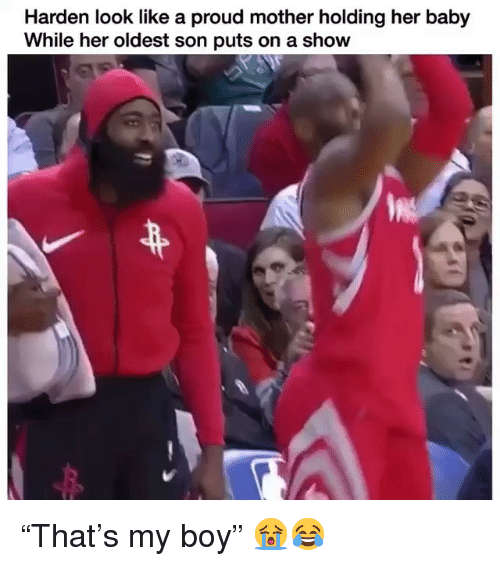 """Nba, Proud, and Baby: Harden look like a proud mother holding her baby  While her oldest son puts on a show """"That's my boy"""" 😭😂"""