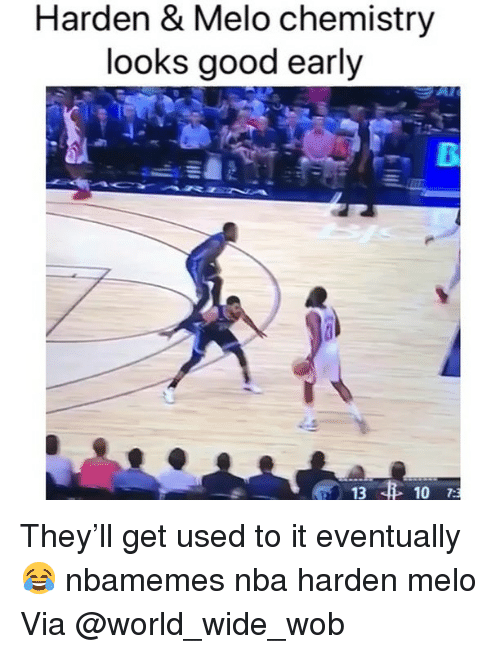 Basketball, Nba, and Sports: Harden & Melo chemistry  looks good early  13  10 7: They'll get used to it eventually 😂 nbamemes nba harden melo Via @world_wide_wob