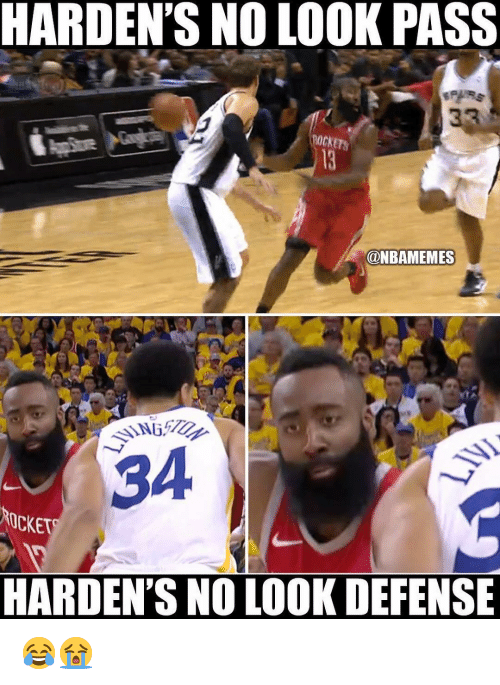 Nba, Rockets, and Look: HARDEN'S NO LOOK PASS  ROCKETS  ONBAMEMES  34  OCKET  HARDEN'S NO LOOK DEFENSE 😂😭