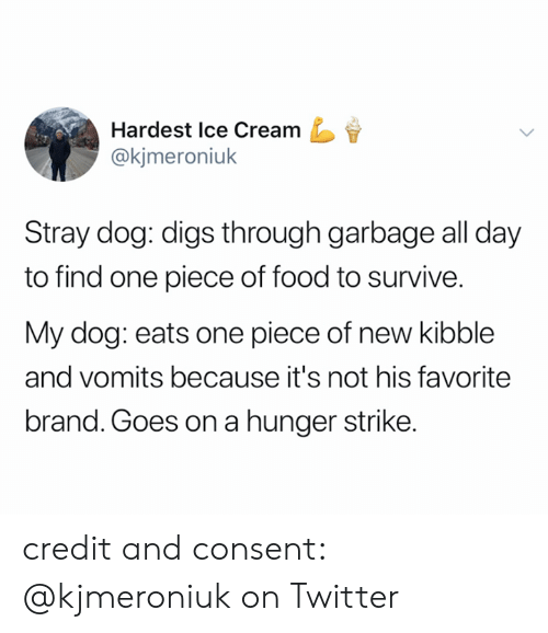 Food, Twitter, and Ice Cream: Hardest Ice Cream  @kjmeroniuk  Stray dog: digs through garbage all day  to find one piece of food to survive.  My dog: eats one piece of new kibble  and vomits because it's not his favorite  brand. Goes ona hunger strike. credit and consent: @kjmeroniuk on Twitter