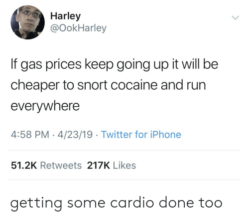 Iphone, Run, and Twitter: Harley  @OokHarley  If gas prices keep going up it will be  cheaper to snort cocaine and run  everywhere  4:58 PM-4/23/19 Twitter for iPhone  51.2K Retweets 217K Likes getting some cardio done too